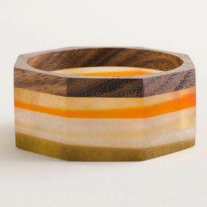 Chico's Bracelet Wide Octagon Neutral Wood Cuff